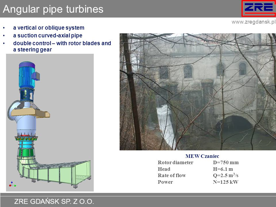 Angular pipe turbines a vertical or oblique system