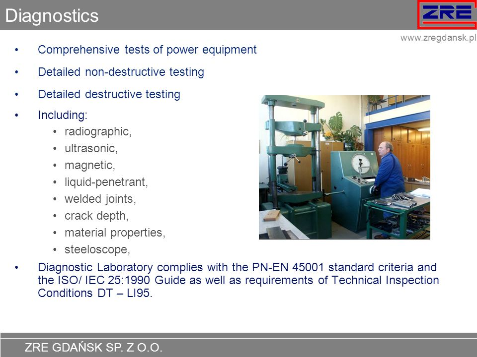 Diagnostics Comprehensive tests of power equipment