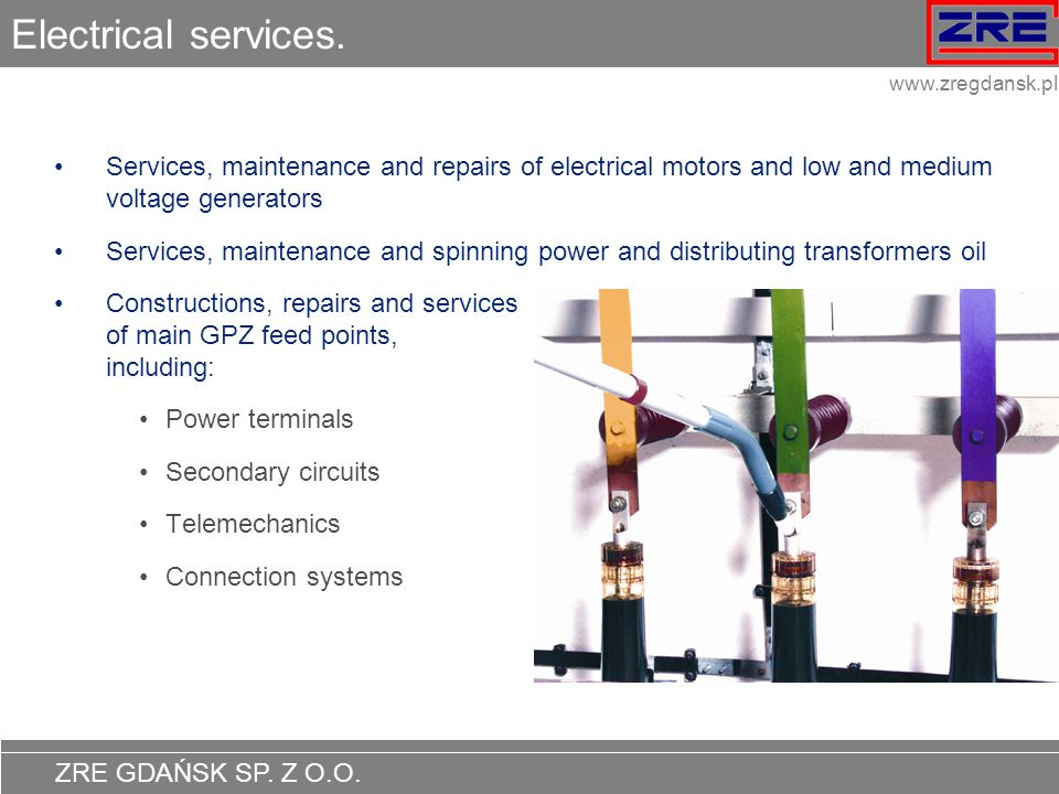 Electrical services. Services, maintenance and repairs of electrical motors and low and medium voltage generators.