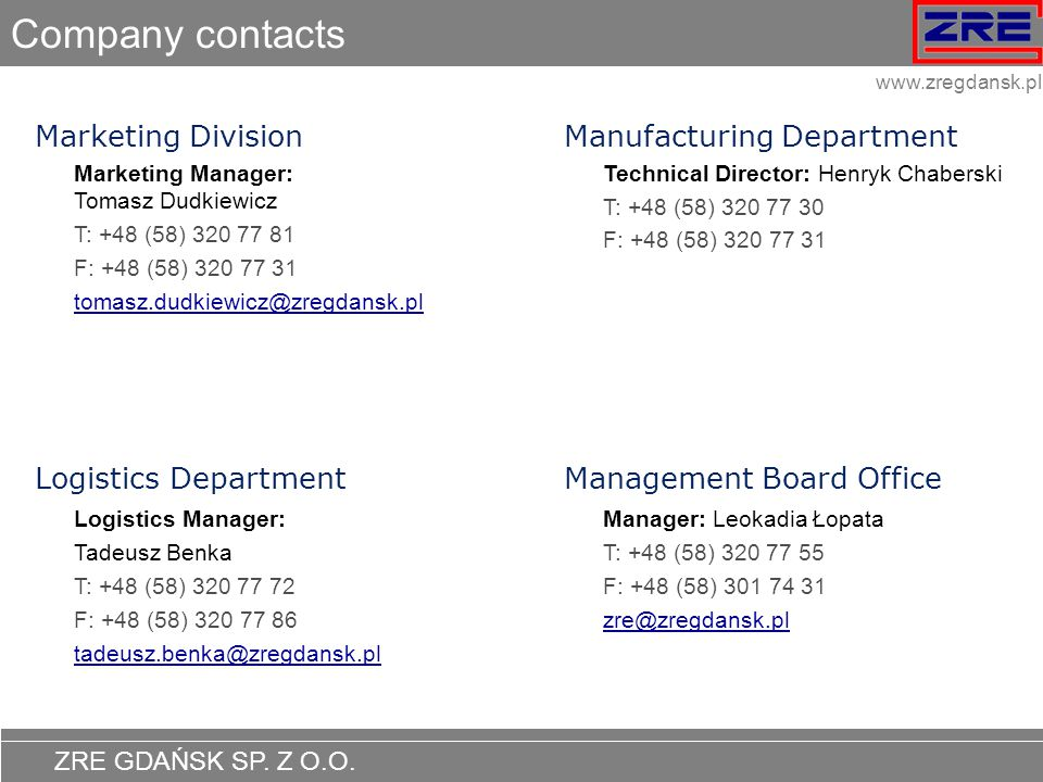 Company contacts Marketing Division Manufacturing Department