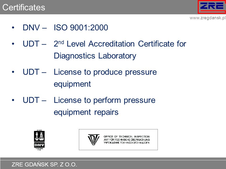 Certificates DNV – ISO 9001:2000