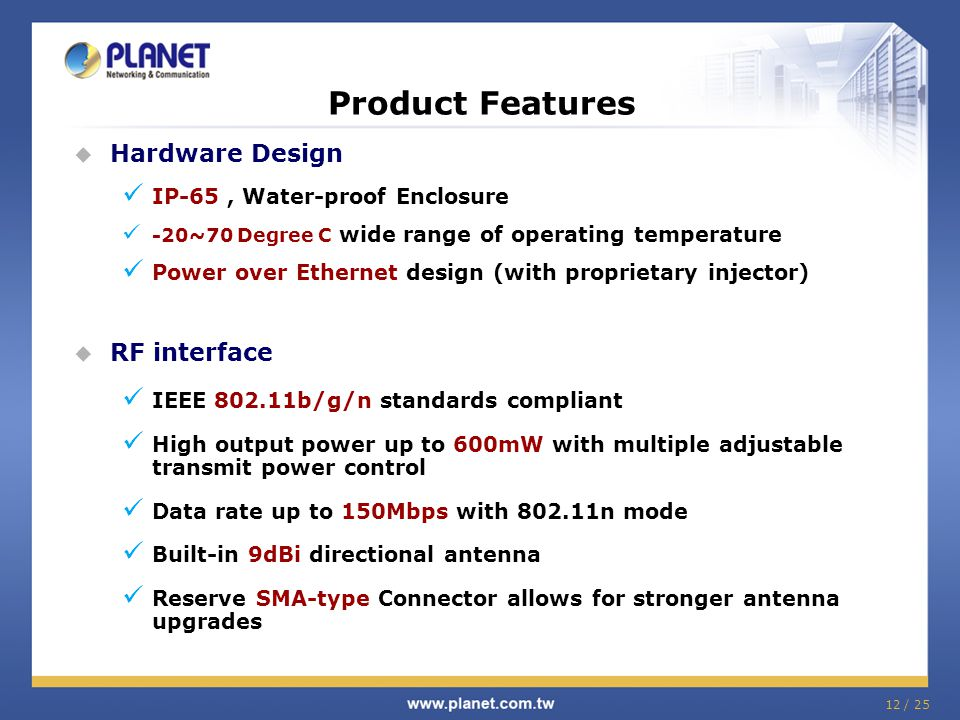 Product Features Hardware Design RF interface