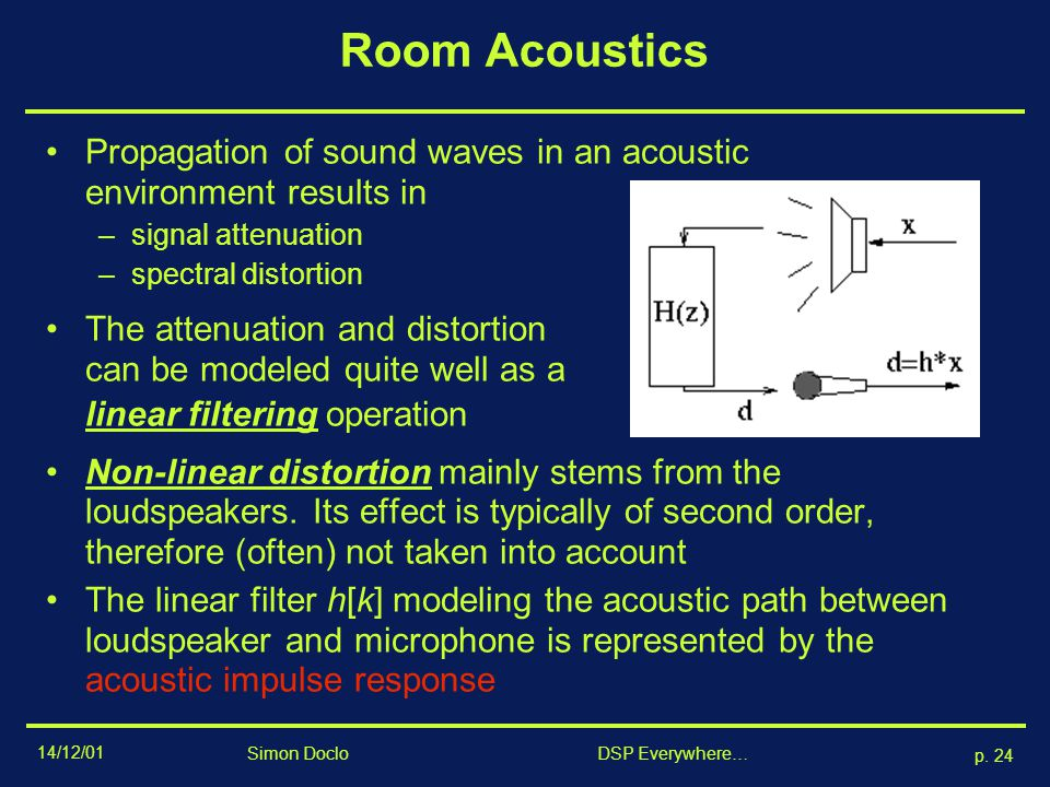 Room Acoustics Propagation of sound waves in an acoustic environment results in. signal attenuation.