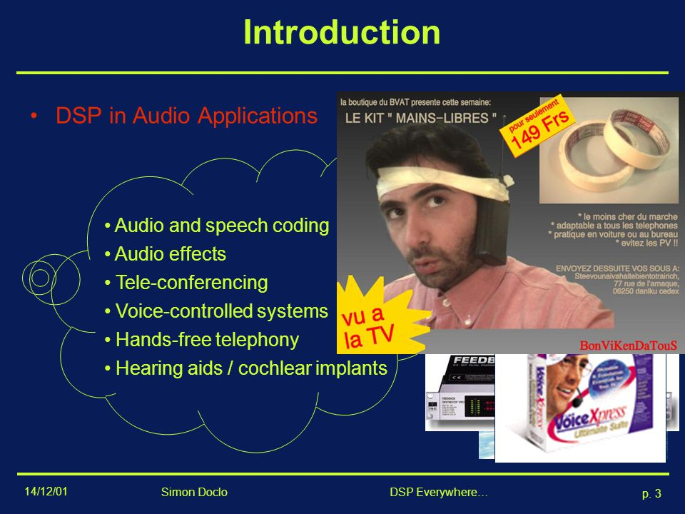 Introduction DSP in Audio Applications Audio and speech coding