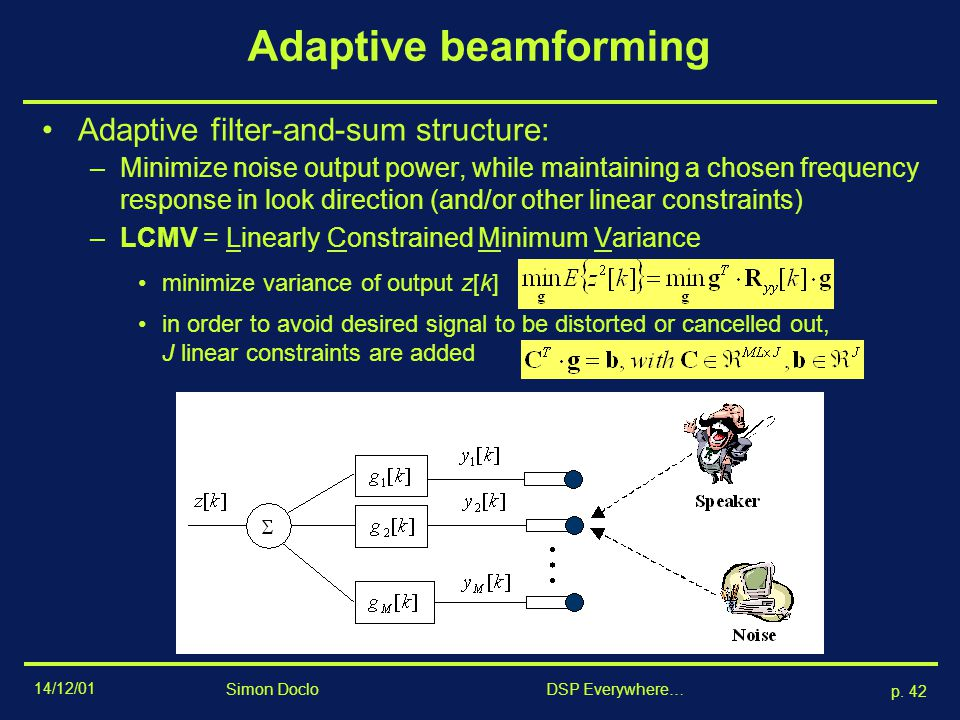 Adaptive beamforming Adaptive filter-and-sum structure: