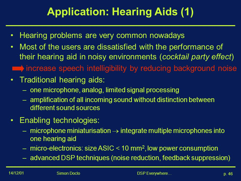 Application: Hearing Aids (1)