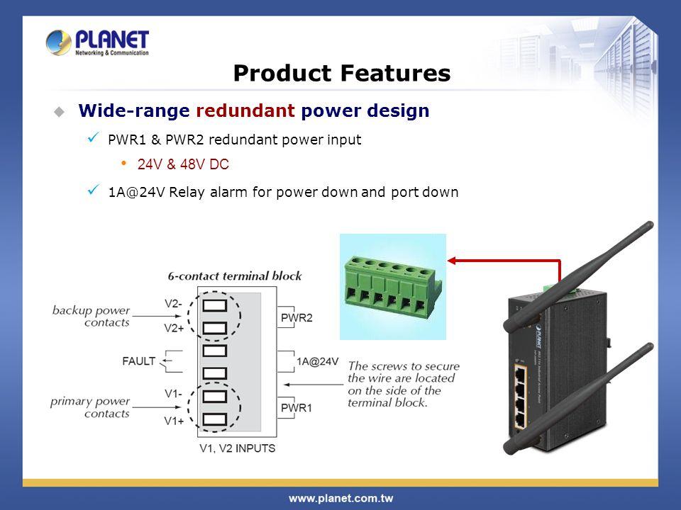 Product Features Wide-range redundant power design 24V & 48V DC
