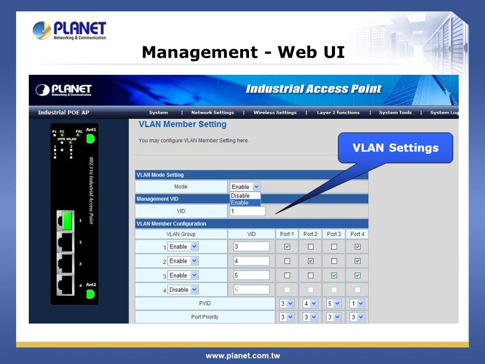 Management - Web UI VLAN Settings