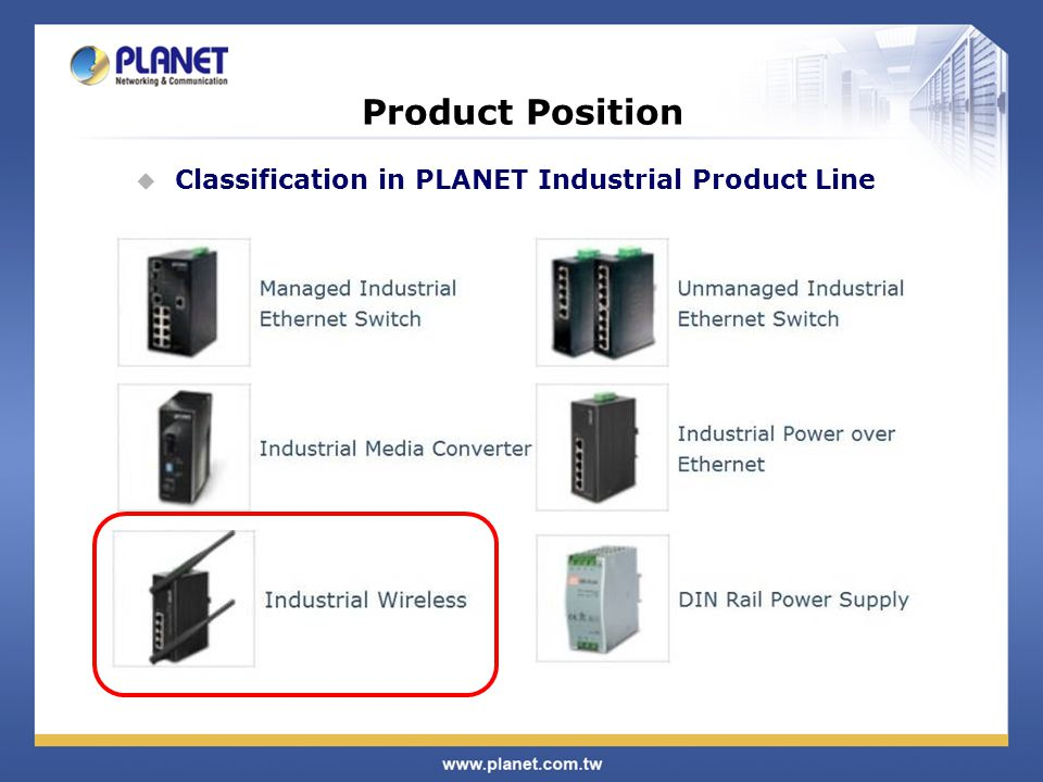 Product Position Classification in PLANET Industrial Product Line