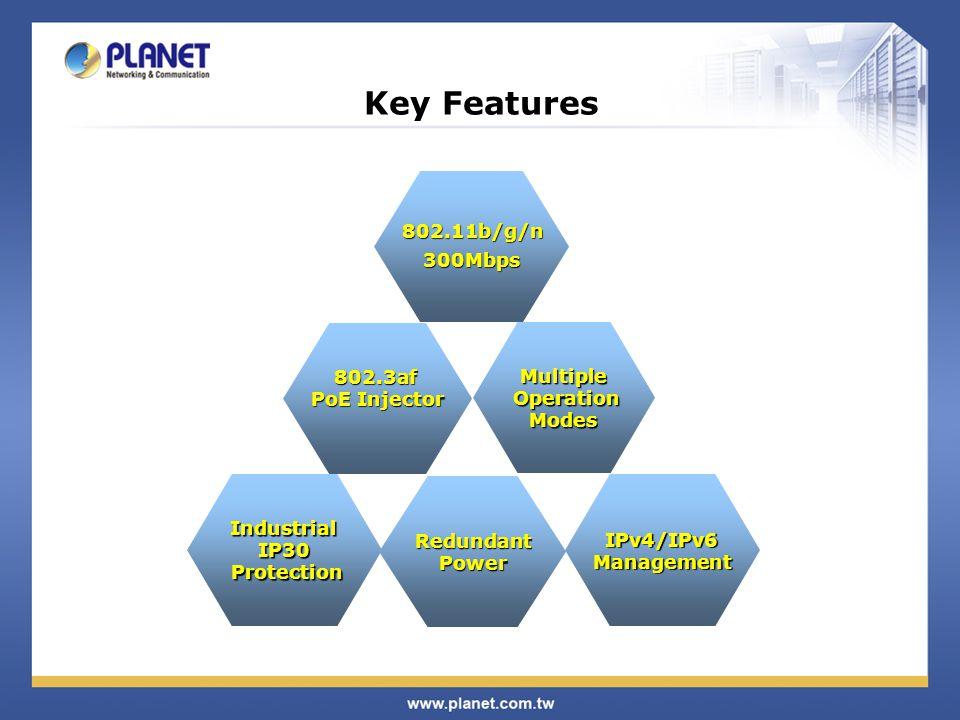 Key Features 802.11b/g/n 300Mbps 802.3af PoE Injector Multiple