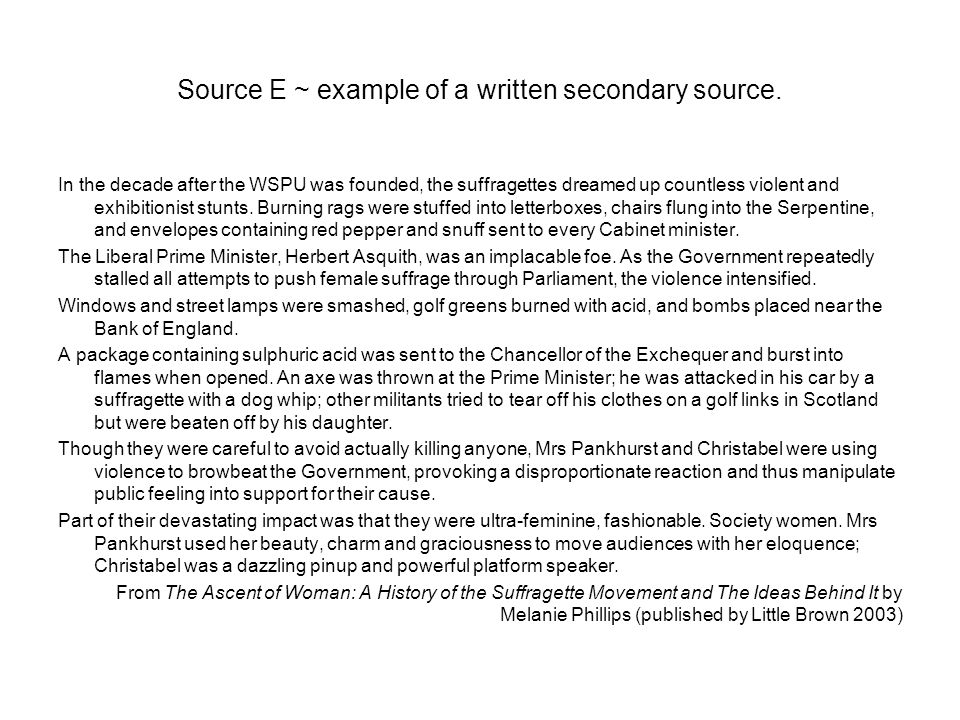 Source E ~ example of a written secondary source.