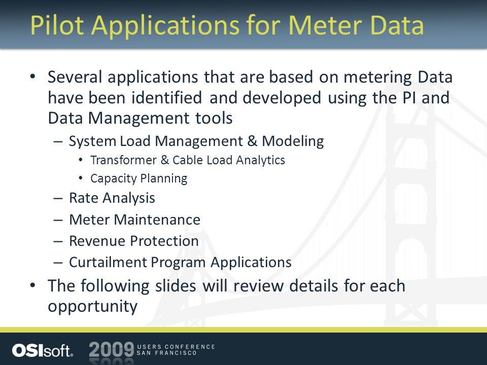 Pilot Applications for Meter Data