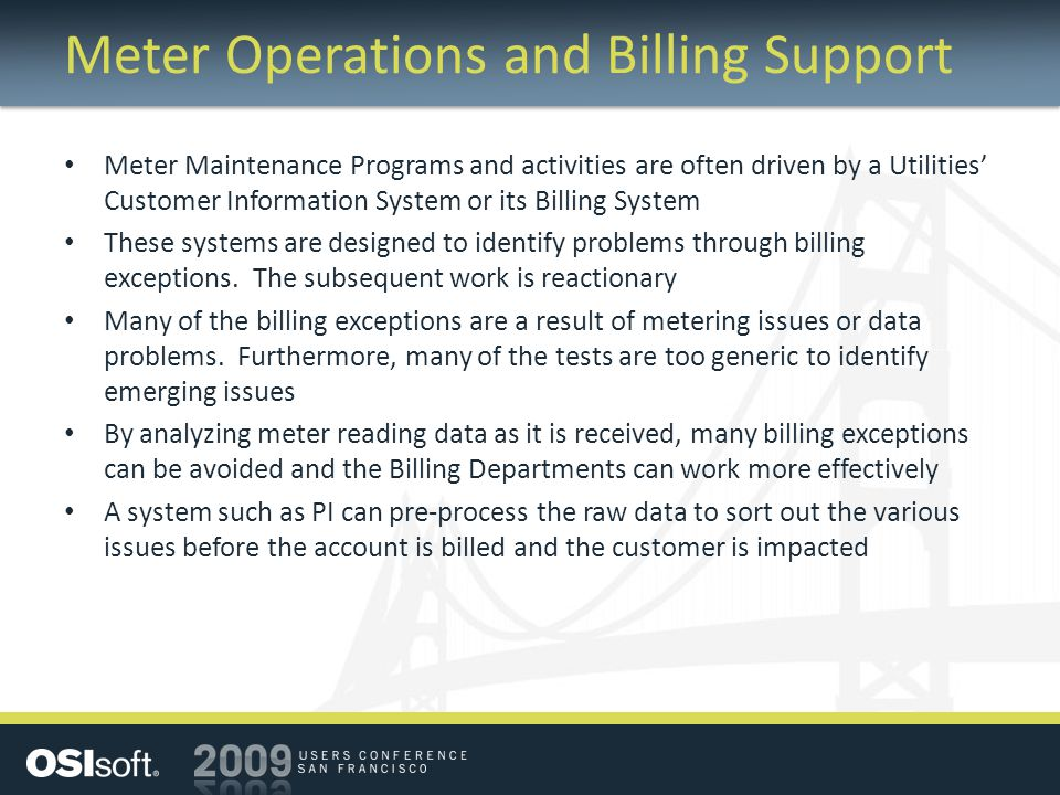 Meter Operations and Billing Support