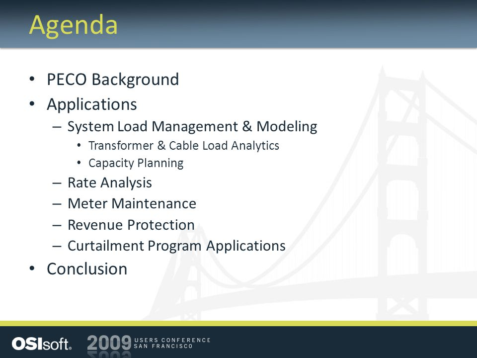 Agenda PECO Background Applications Conclusion