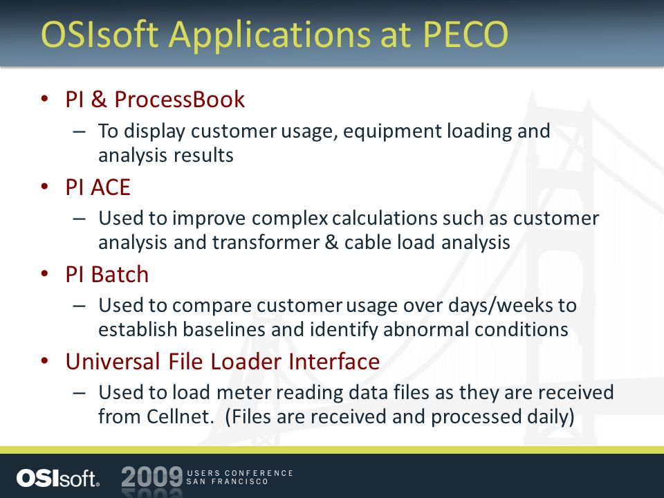 OSIsoft Applications at PECO