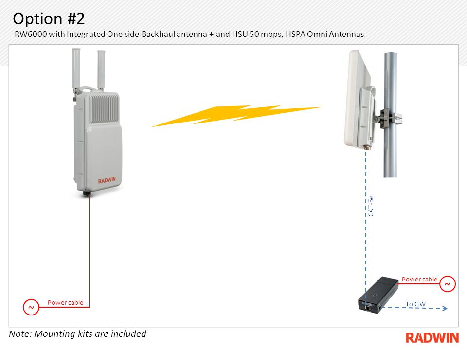 Option #2 RW6000 with Integrated One side Backhaul antenna + and HSU 50 mbps, HSPA Omni Antennas