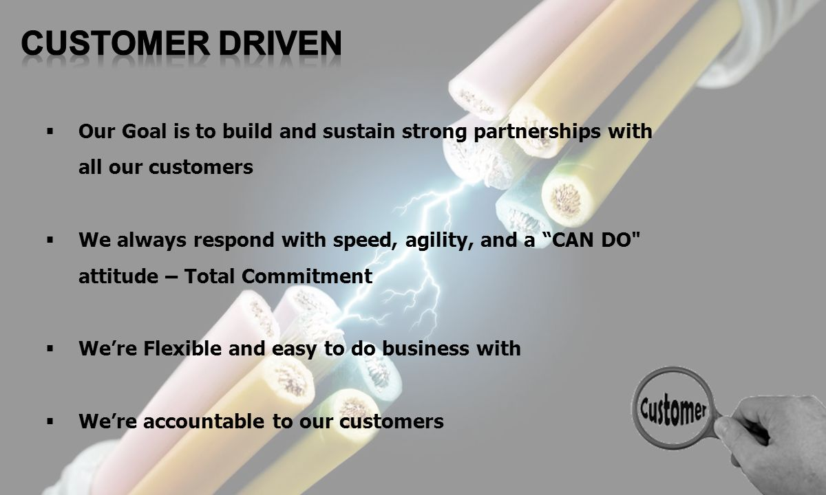 CUSTOMER DRIVEN Our Goal is to build and sustain strong partnerships with all our customers.