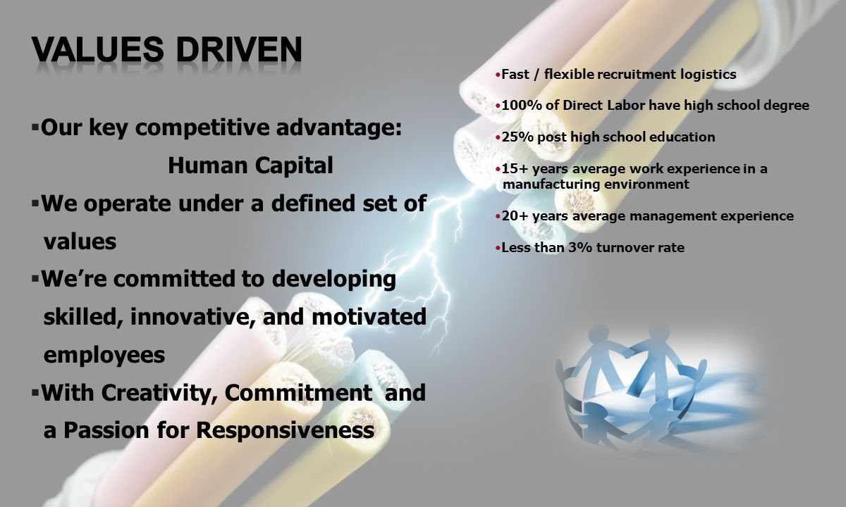 VALUES DRIVEN Our key competitive advantage: Human Capital