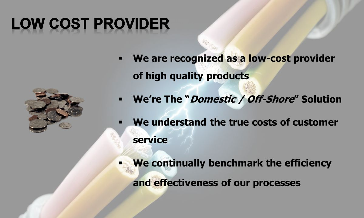 LOW COST PROVIDER We are recognized as a low-cost provider of high quality products. We're The Domestic / Off-Shore Solution.