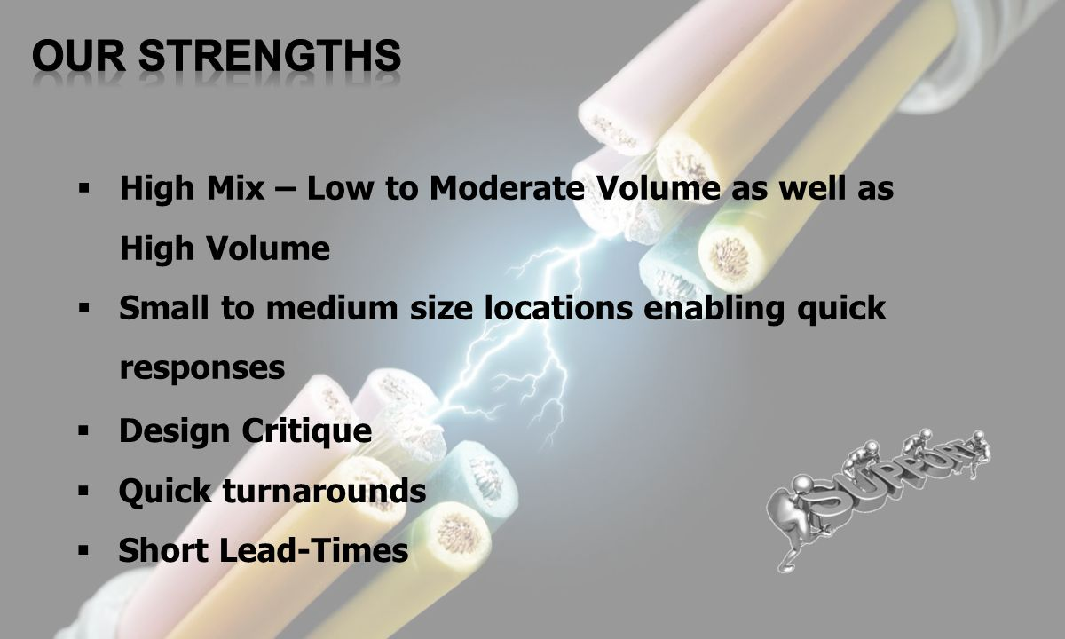OUR STRENGTHS High Mix – Low to Moderate Volume as well as High Volume