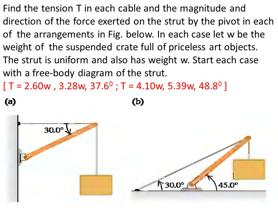 Find the tension T in each cable and the magnitude and direction of the force exerted on the strut by the pivot in each of the arrangements in Fig. below. In each case let w be the weight of the suspended crate full of priceless art objects. The strut is uniform and also has weight w. Start each case with a free-body diagram of the strut.