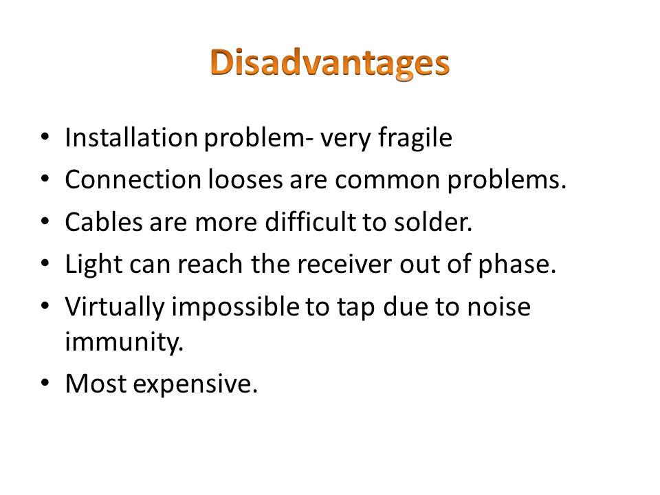 Disadvantages Installation problem- very fragile