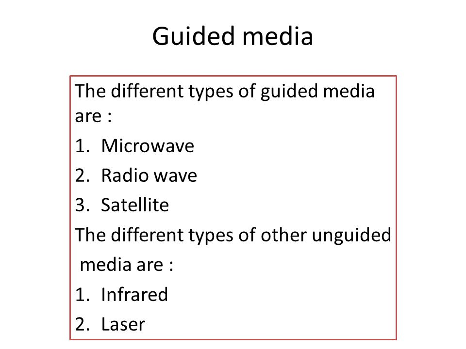 Guided media The different types of guided media are : Microwave