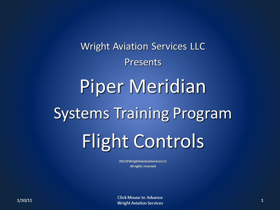 Piper Meridian Flight Controls Systems Training Program