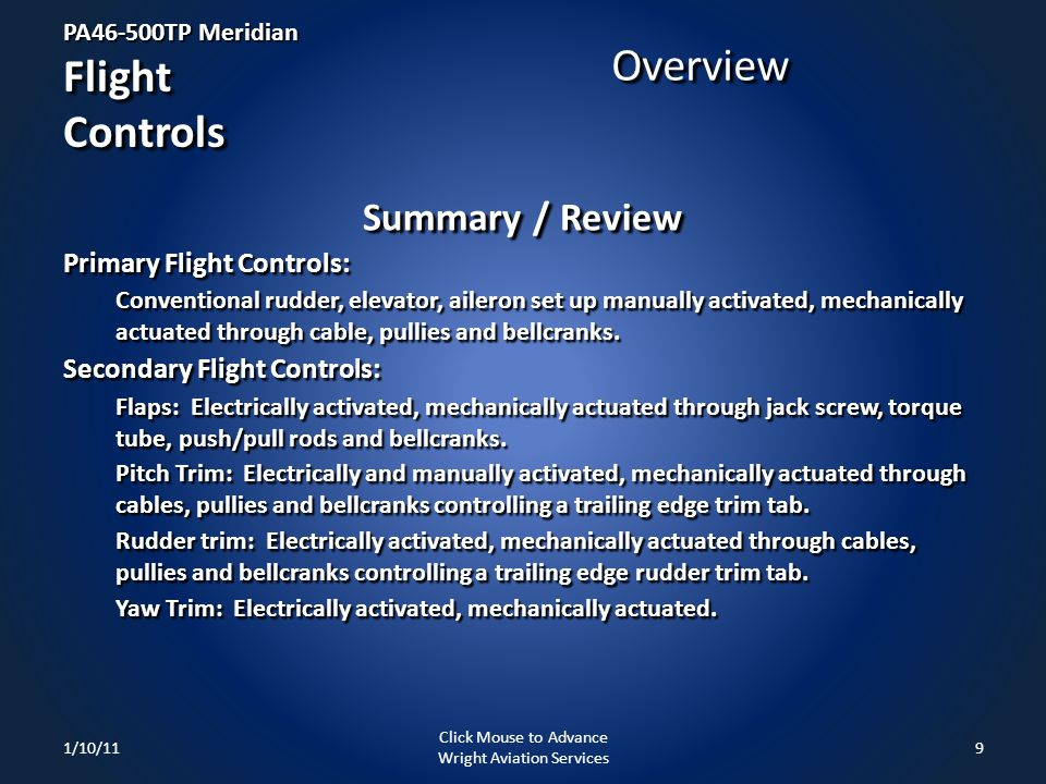 PA46-500TP Meridian Flight Controls