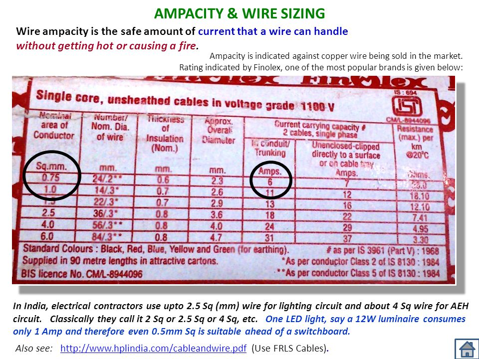 AMPACITY & WIRE SIZING Wire ampacity is the safe amount of current that a wire can handle without getting hot or causing a fire.