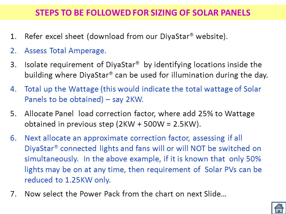 STEPS TO BE FOLLOWED FOR SIZING OF SOLAR PANELS