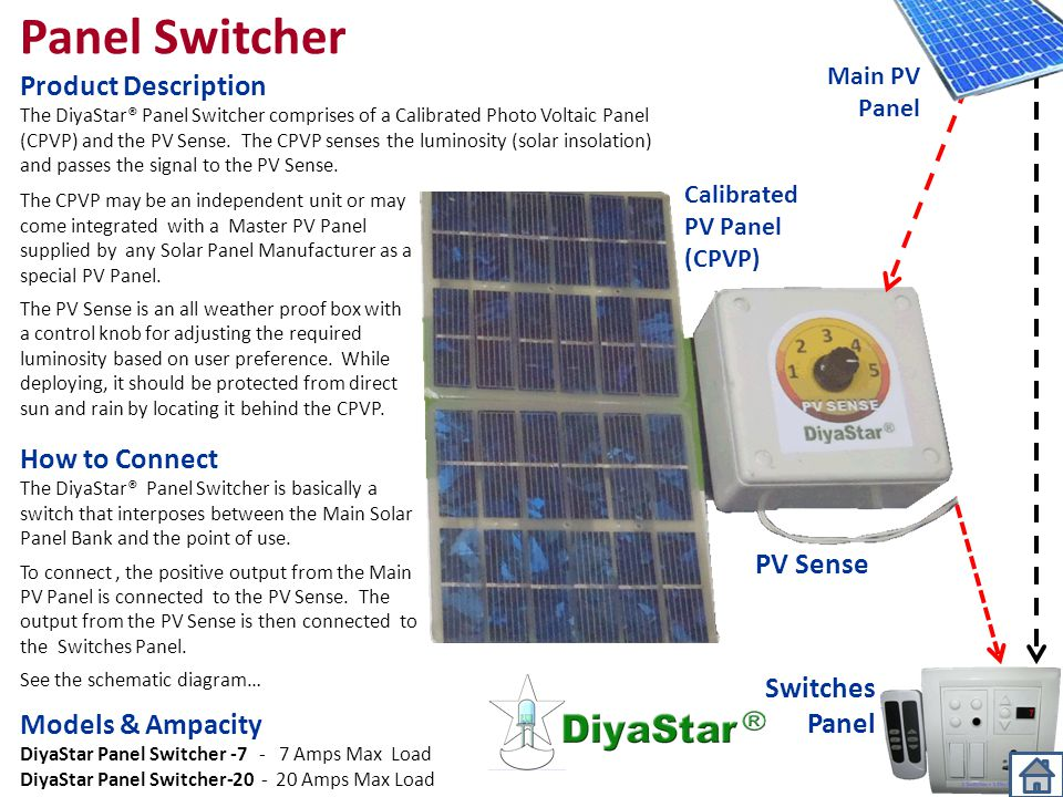 Panel Switcher Product Description How to Connect PV Sense Switches