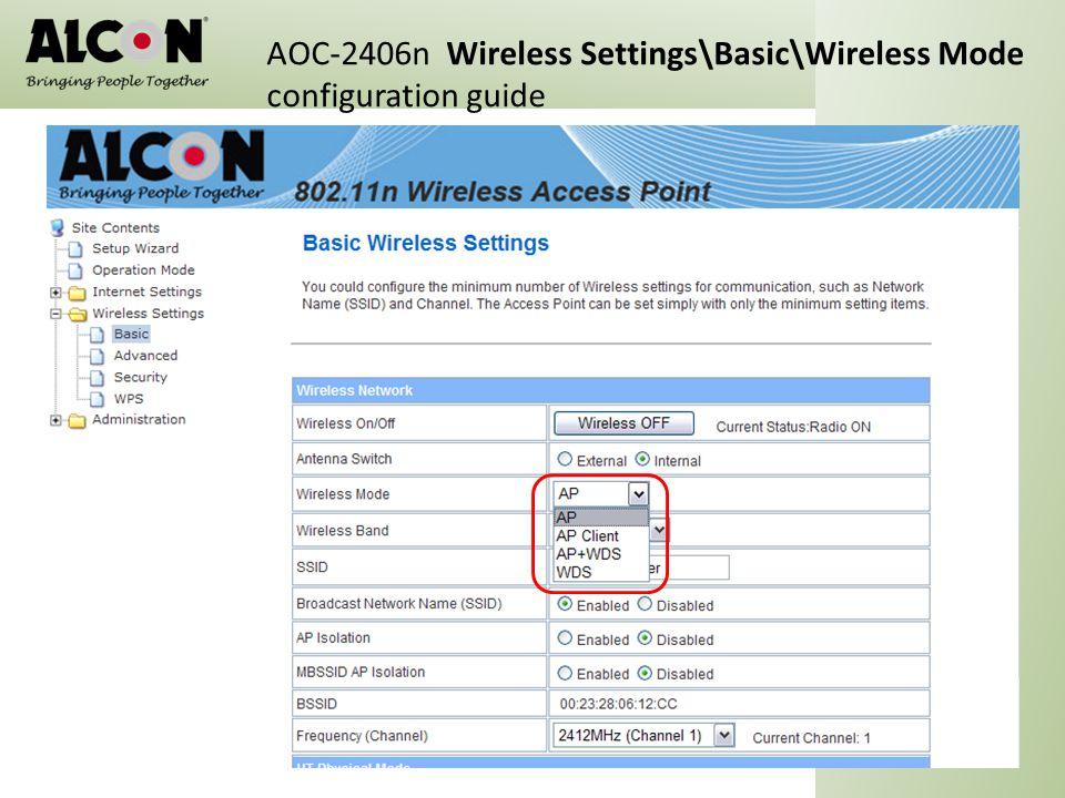 AOC-2406n Wireless Settings\Basic\Wireless Mode configuration guide