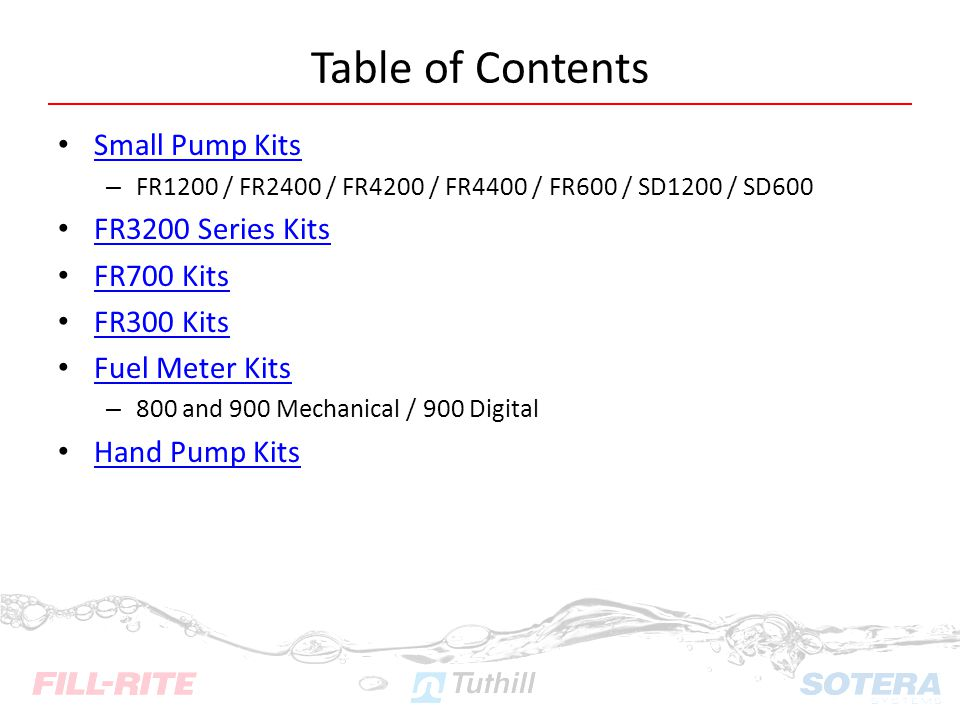 Table of Contents Small Pump Kits FR3200 Series Kits FR700 Kits