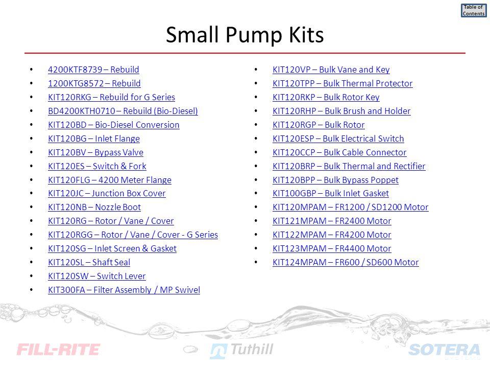 Small Pump Kits 4200KTF8739 – Rebuild 1200KTG8572 – Rebuild