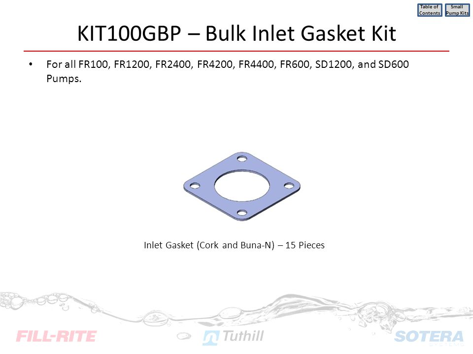 KIT100GBP – Bulk Inlet Gasket Kit