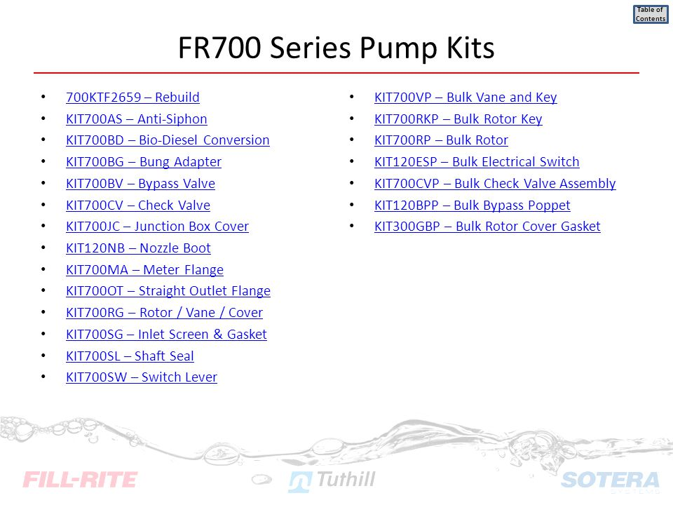 FR700 Series Pump Kits 700KTF2659 – Rebuild KIT700AS – Anti-Siphon