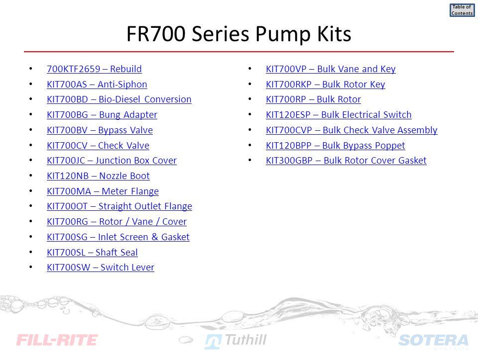 FR700 Series Pump Kits 700KTF2659 – Rebuild KIT700AS – Anti-Siphon