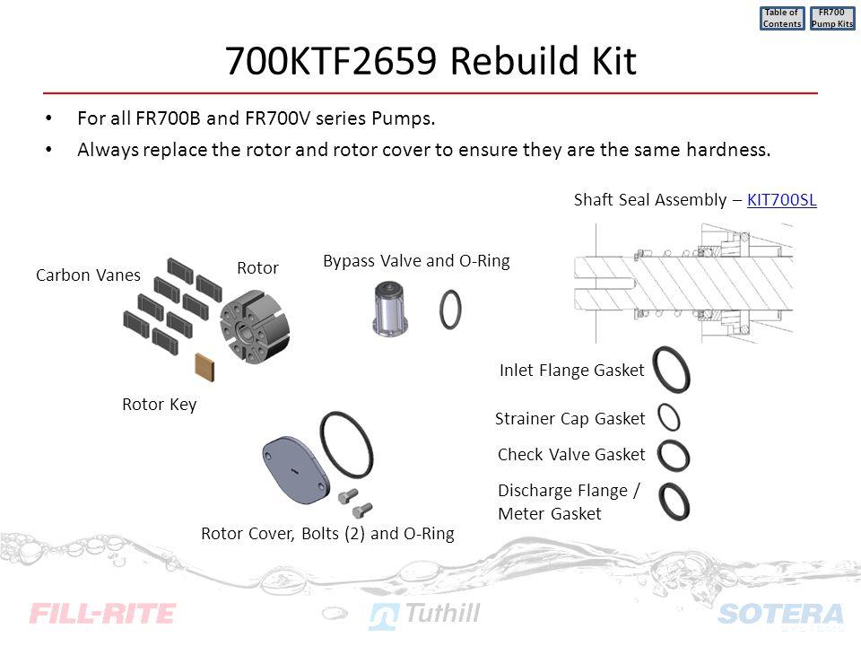 700KTF2659 Rebuild Kit For all FR700B and FR700V series Pumps.