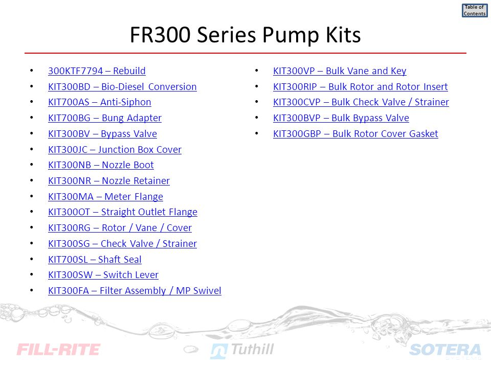 FR300 Series Pump Kits 300KTF7794 – Rebuild
