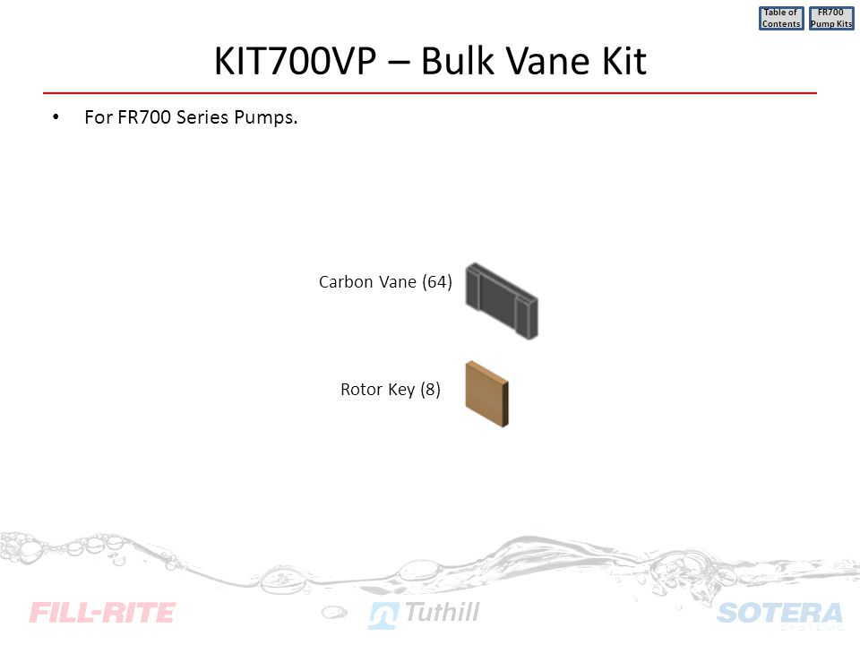 KIT700VP – Bulk Vane Kit For FR700 Series Pumps. Carbon Vane (64)