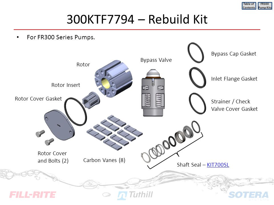 300KTF7794 – Rebuild Kit For FR300 Series Pumps. Bypass Cap Gasket