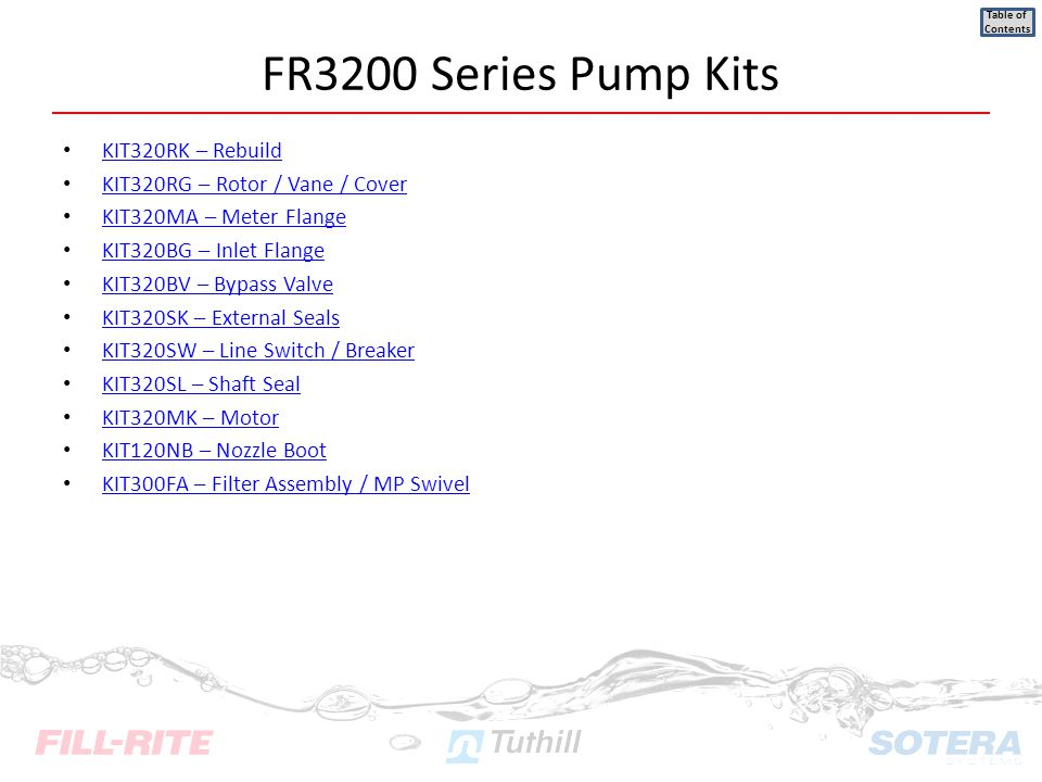 FR3200 Series Pump Kits KIT320RK – Rebuild