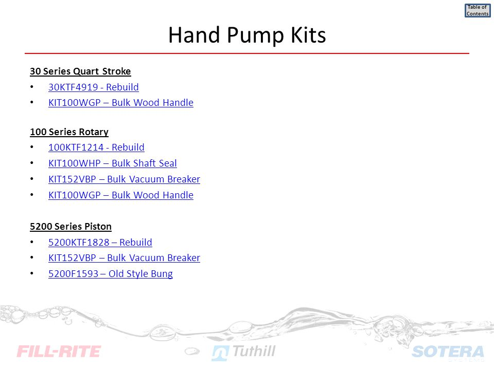 Hand Pump Kits 30 Series Quart Stroke 30KTF Rebuild