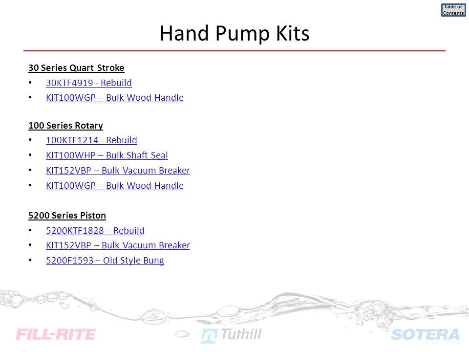 Hand Pump Kits 30 Series Quart Stroke 30KTF4919 - Rebuild