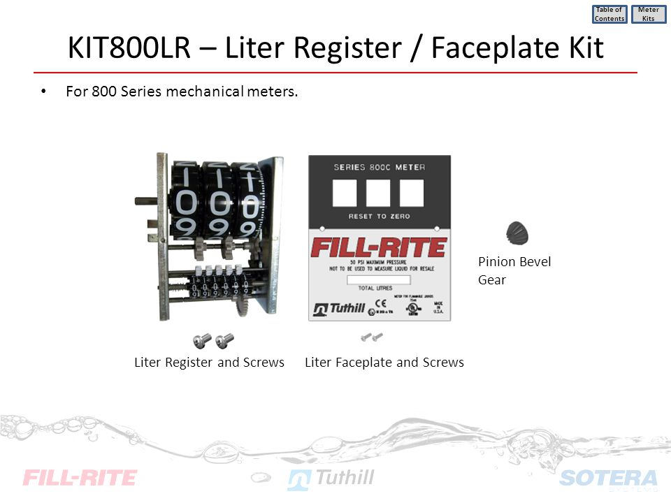 KIT800LR – Liter Register / Faceplate Kit