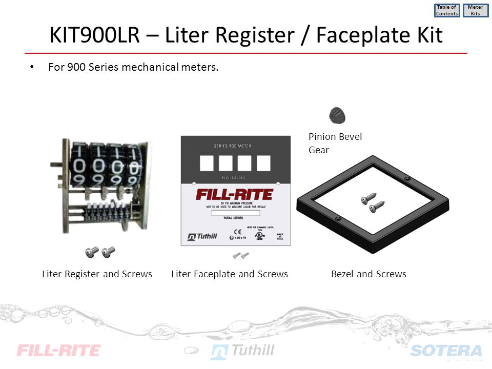 KIT900LR – Liter Register / Faceplate Kit