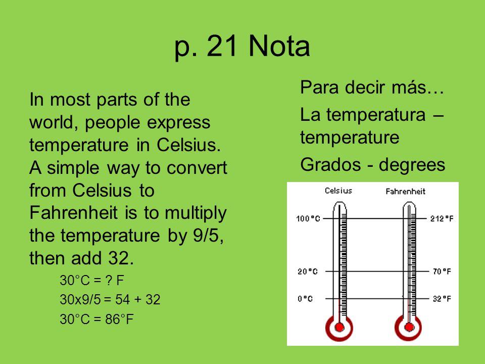p. 21 Nota Para decir más… La temperatura – temperature Grados - degrees
