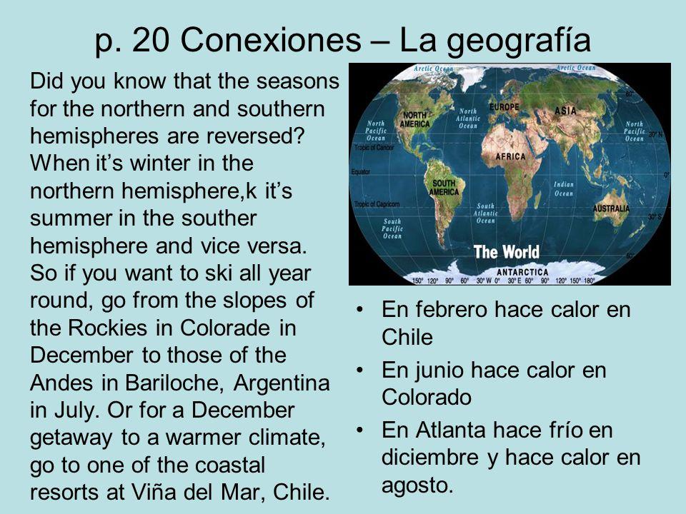 p. 20 Conexiones – La geografía