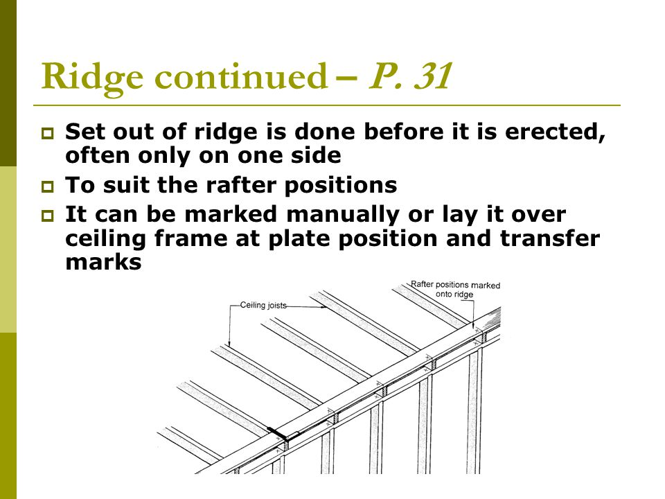 Ridge continued – P. 31 Set out of ridge is done before it is erected, often only on one side. To suit the rafter positions.